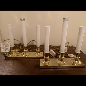 Set of 2 brass based candelabra with 3 candles